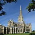 Rising 168 feet (51 m) from the main crossing tower to a height of 404 feet (123 m) above ground level, the spire of Salisbury Cathedral, the tallest stone spire in England