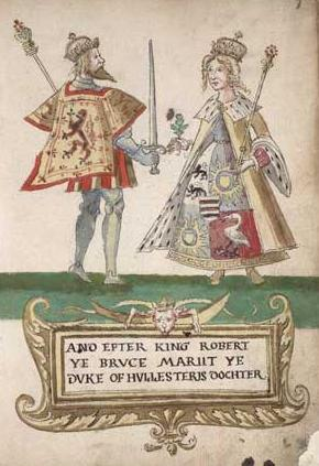 From the Seton Armorial in the Nation Library of Scotland (MS Acc. 9309): Robert the Bruce and Elizabeth de Burgh.