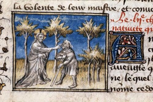 Detail of a miniature of Christ healing the man born blind.