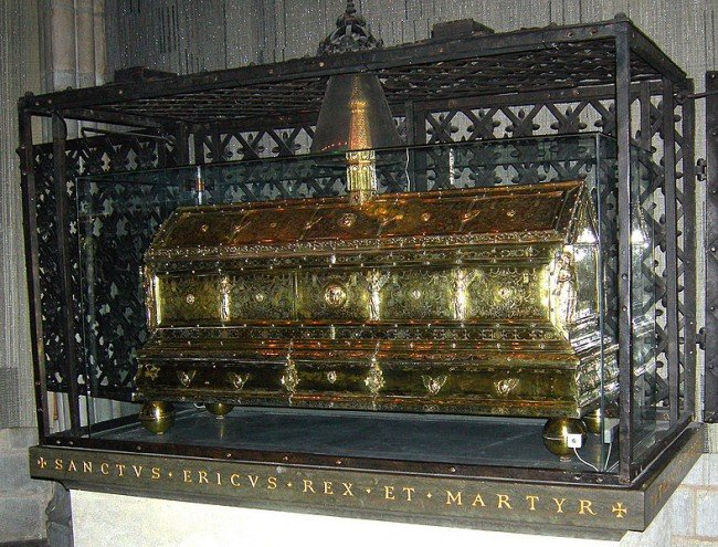 Casket of King Erik iX in Uppsala Cathedral.
