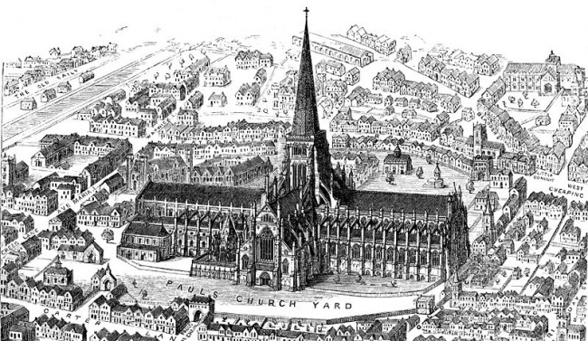 Old St Paul's prior to 1561, with intact spire