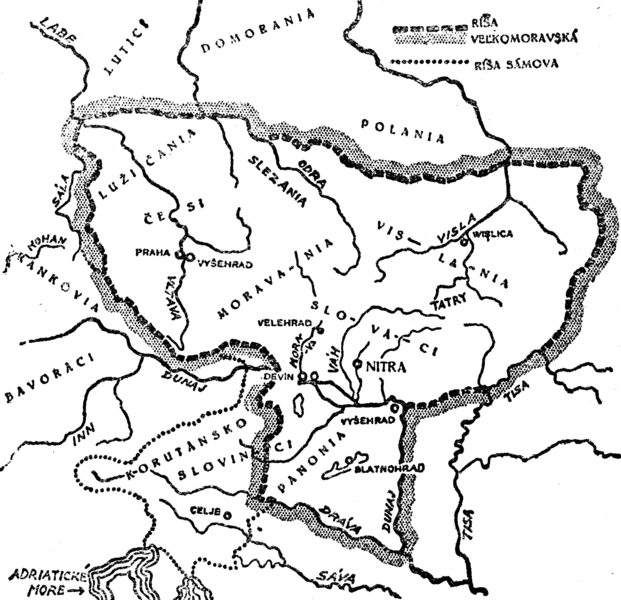 Map of Great Moravia in 869, during the reign of Svätopluk.