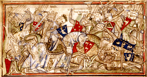 Battle of Stamford Bridge. From 13th century Anglo-Norman manuscript.