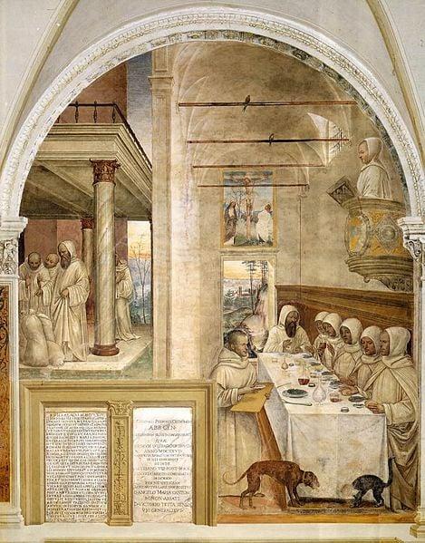 Refectory - Life of St. Benedict Scene 31 - Benedict Feeds the Monks