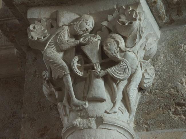 Capital in the basilica Sainte-Marie-Madeleine at Vézelay _ Photo by Waldstein/Wikicommons