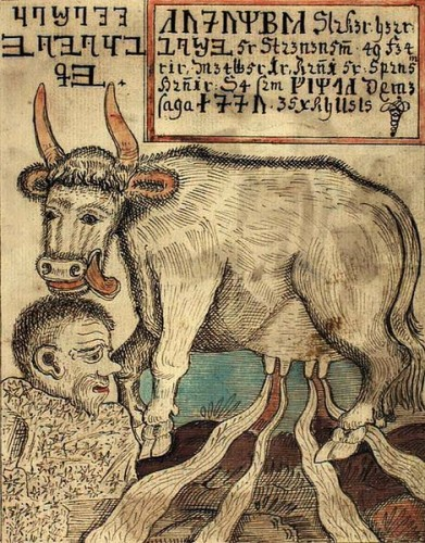 Auðumbla and Búri - a Norse mythology image from the 18th century Icelandic manuscrip