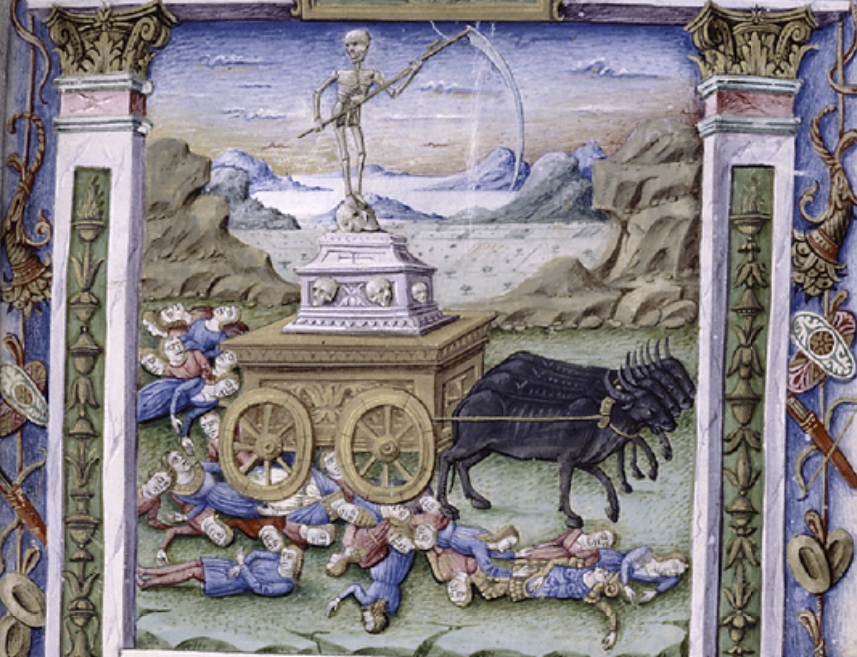 15th century image of Death - Majorana, Cristoforo (fl. ca. 1480-1494). Image from New York Public Library