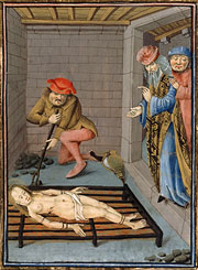 Medieval depiction of the martyrdom of St. Faith with a red hot poker