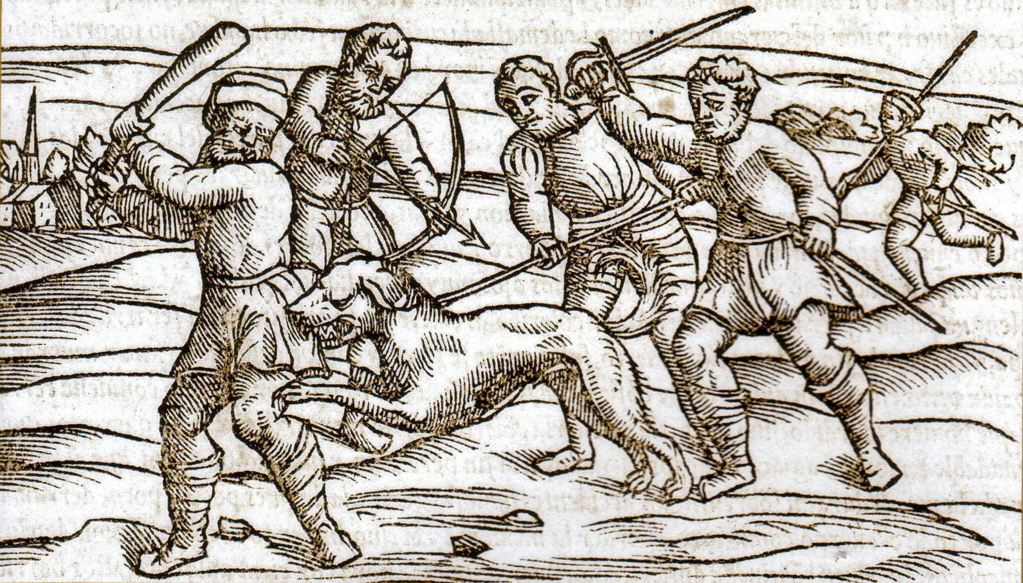 A woodcut from the Middle Ages showing a rabid dog.