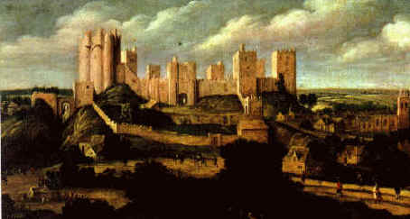 Painting of Pontefract Castle in the early 17th century by Alexander Keirincx