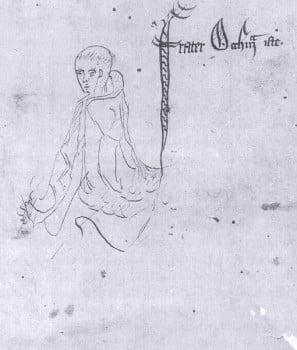 "William of Ockham – Sketch labelled ""frater Occham iste"", from a manuscript of Ockham's Summa Logicae, 1341"