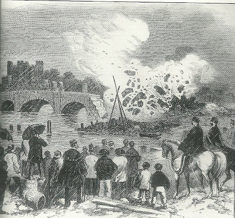 Gunpowder used to destroy  Rochester Bridge in the 19th century