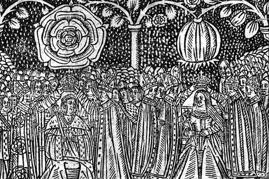 16th century woodcut of the coronation of Henry VIII of England and Catherine of Aragon