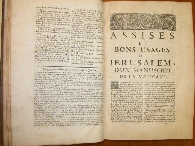 The Assizes of Jerusalem