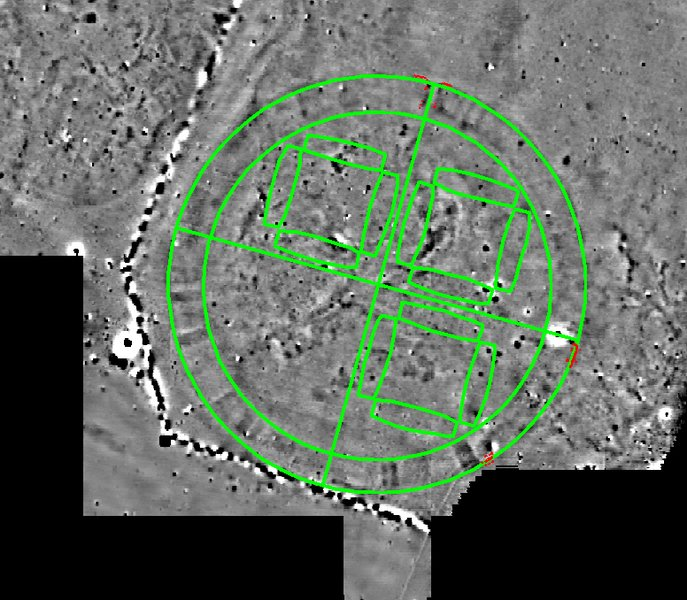 Ground plan of the Fyrkat Viking fortress placed on top of the Vallø ringed fortress. The red lines show the outline of the Vallø excavation © Danish Castle Centre