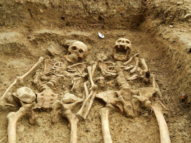 A couple who have been holding hands for 700 years have been uncovered at the 'lost' chapel of St Morrell in Leicestershire - Credit: University of Leicester Archaeological Services