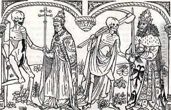 The archbishop and the knight, woodcut in Guy Marchant's Danse macabre edition first printed in Paris in 1485