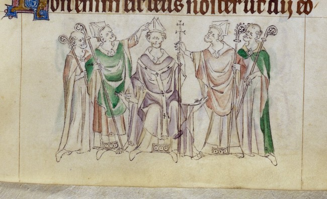 Thomas Becket, with mitre, pall and cross, being consecrated.