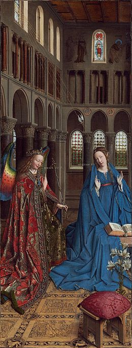 Jan van Eyck, Annunciation, 1434–1436. Wing from a dismantled triptych. National Gallery of Art, Washington DC.