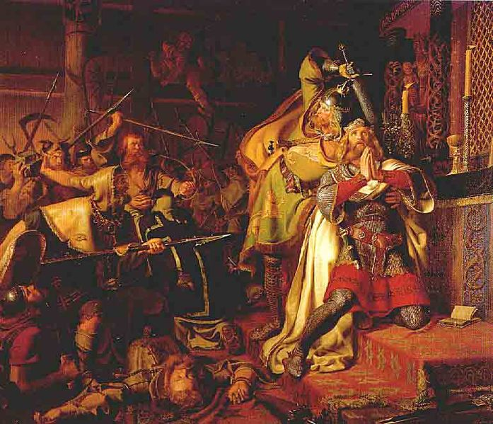 Murder of Canute the Holy by Christian Albrecht von Benzon, 1843