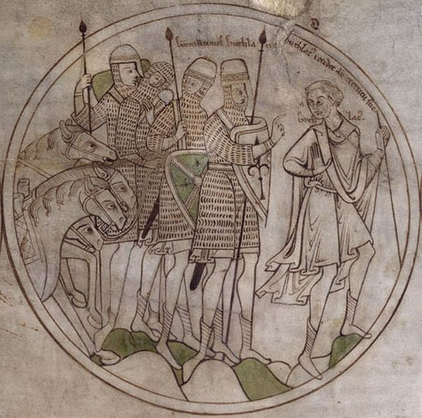 Saint Guthlac - Roundel from Guthlac Roll, depicting St Guthlac in contemplation - British Library