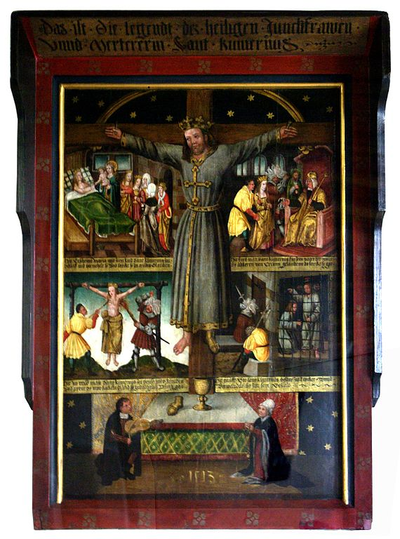 Saint Wilgefortis, with scenes from her legend and donor portraits, 1513