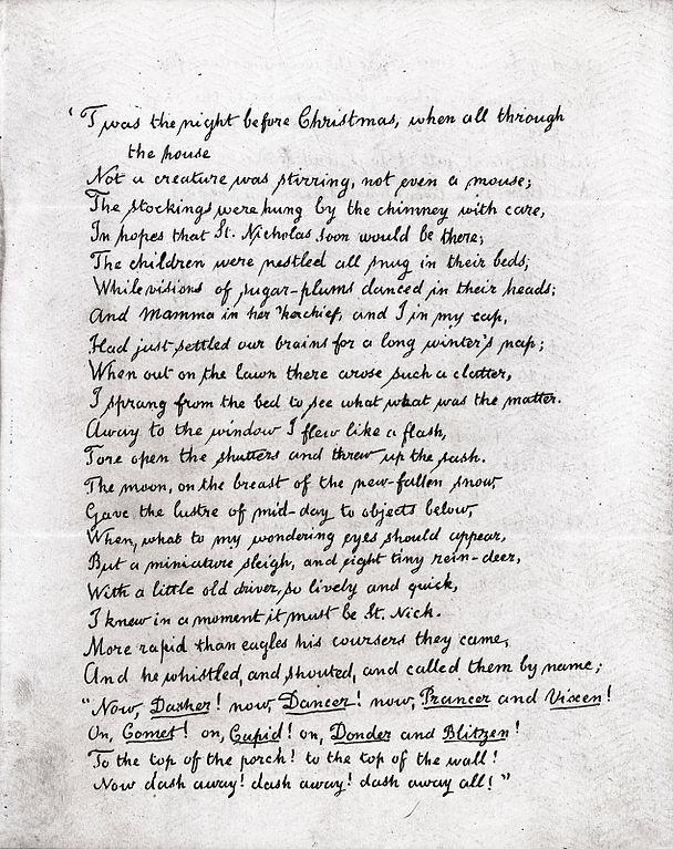 'A Visit From St. Nicholas' handwritten manuscript by author Clement C. Moore