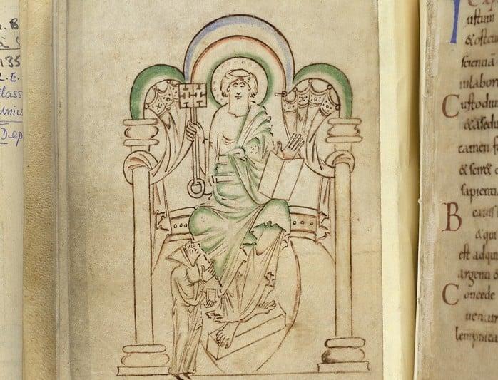 Miniature of St. Peter Enthroned, In 'Aelfwine's Prayerbook'