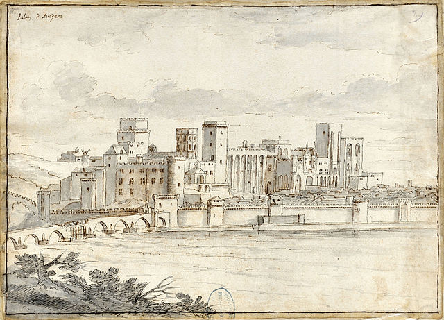 View of the Palais des Papes in Avignon, France. 17th century