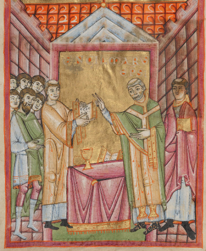 Bishop Engilmar Celebrating Mass - 11th  century - Getty Museum