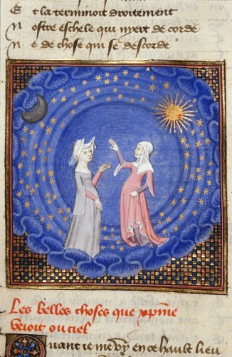 Detail of a miniature of Christine and the Sibyl standing in a sphere of the cosmos, with the moon, sun and stars surrounding, in 'Le chemin de long estude'.