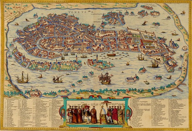 Venice in 1565 - Venice, engraving by Hogenberg and Braun from the Civitates Orbis Terrarum