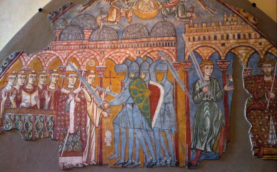 Venetian workshop, Martyrdom and Elevatio animae of Thomas Becket, third quarter of the 13th century, wall-painting. Treviso, Diocesan Museum