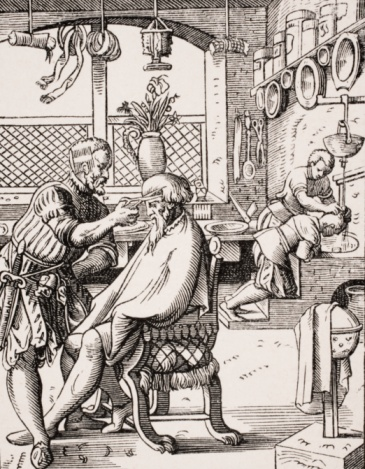 Haircutting for men - Reproduction of a woodcut by Jost Amman (1539-91)
