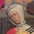 Janet Stephens has recreated a second hairstyle based on 14th century art. This style belonged to a medieval Tuscan midwife as was depicted by Paolo di Giovanni Fei (1344-1411) in his Birth of the Virgin Mary.