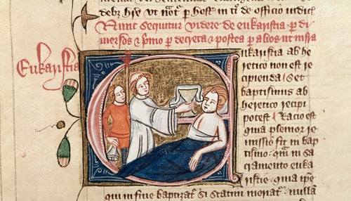 Sick man in bed - Royal 6 E.VII, f.70