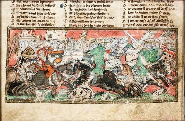 Battle between the Turks and the Crusaders  - The Hague, KB, KA 20 fol. 254v