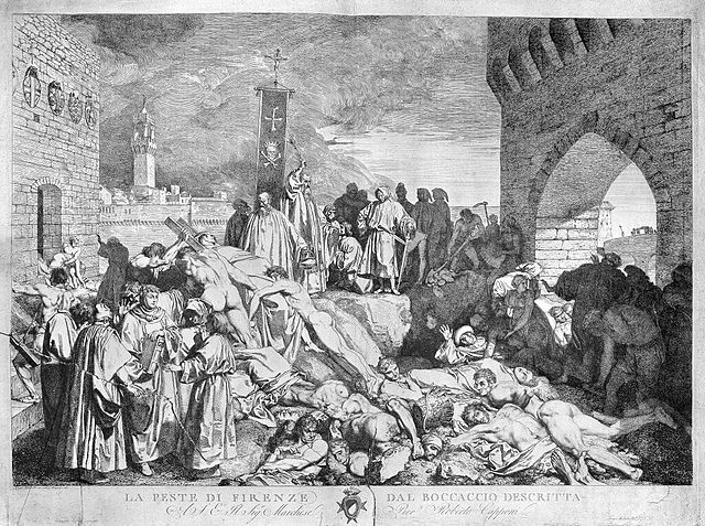 The plague of Florence in 1348, as described in Boccaccio's Decameron. Etching by L. Sabatelli