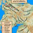 The last British king of Strathclyde, Owein, son of Dyfnal, died in 1018. At that time his kingdom stretched from Lennox, north of the Clyde, as far south as the Rere Cross at Stainmore in the North Riding of Yorkshire.
