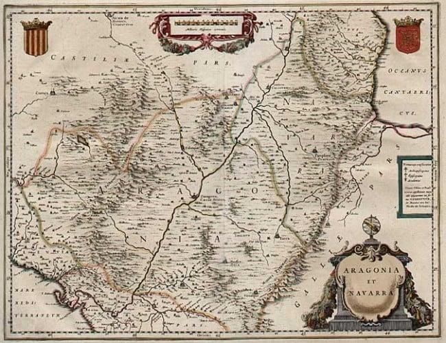 Aragonia et Navarra, by Willem Janszoon Blaeu. Amsterdam: 1640