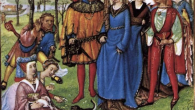 Illustrations and surviving clothing and accessories however present an entirely different picture of medieval fashion: bright, contrasting colours, costly, lavishly decorated fabrics and belts and bags adorned with all kinds of golden and silver-coloured mounts.
