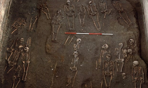 Skeletons uncovered at cemetery below University of Cambridge. Photograph: St John's College, University of Cambridg