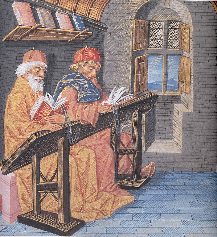 15th century library - Buchillustration, 15. Jahrhundert Musee Condé, Chantilly