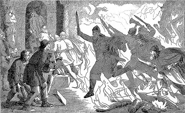 Lorenz Frølich. 1856. Rolf Krake jumbs over the fire