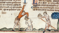 The Middle English poem Sir Gawain and the Green Knight and its Old Irish ancestor The Feast of Bricriu recount a remarkable stranger's challenge to the hero, in effect, 'You can chop off my head if you'll let me return the blow.'