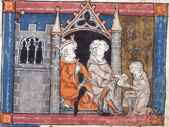 British Library - Additional 10292   f. 87   Merlin gives letter to Pendragon and Uther
