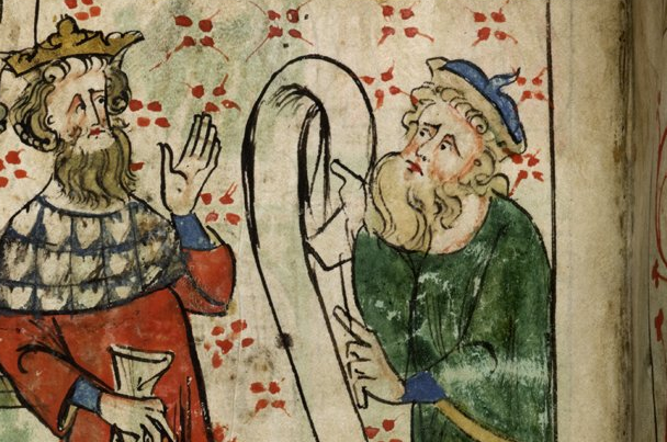 Merlin and Uther Pendragon - British Library Royal 20 A II   f. 3v