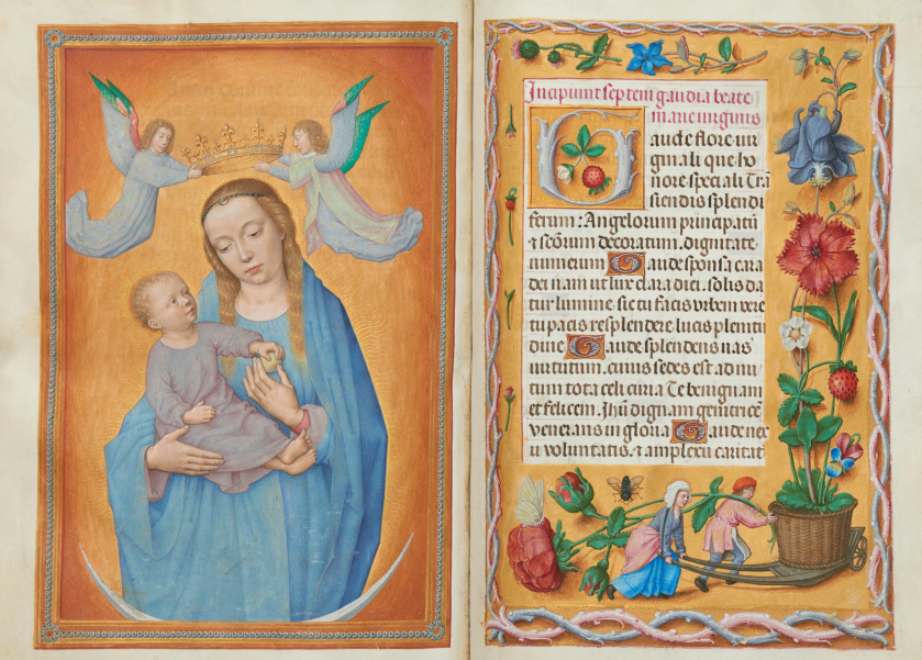 Virgin and Child on a crescent moon and The seven joys of the Virgin, fols 197v–198r in the Rothschild Prayer Book c.1505–1510, Kerry Stokes Collection, Perth