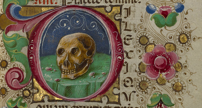 This skull illustrates the office of the dead, the officium defunctorum, in the Gualenghid'Este Hours by Taddeo Crivelli (d. ca. 1479).