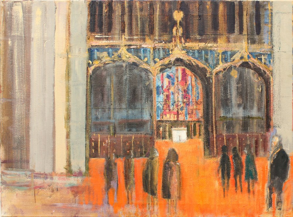 This painting entitled Sanctuary for a King, the first in the series, will be sold by silent auction with proceeds from the sale being donated to Leicester Cathedral.